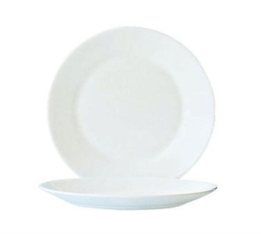 Fully Tempered Restaurant White Glass Plate - 9-3/8