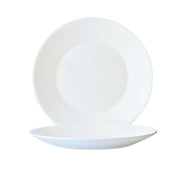 Fully Tempered Restaurant White Glass Plate, 10