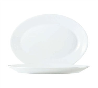Fully Tempered Restaurant White Glass Oval Platter - 11-3/4