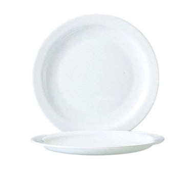 "Cardinal 57974 Arcoroc Restaurant White Narrow Rim Glass Plate 7-1/2"" Dia."