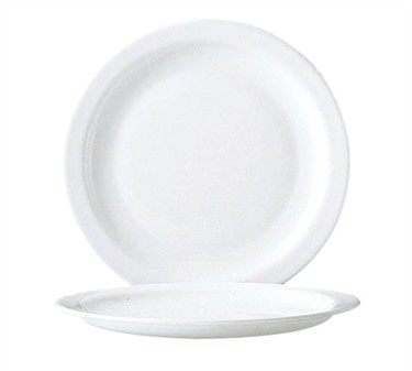 Fully Tempered Restaurant White Narrow Rim Glass Dinner Plate - 9-1/4