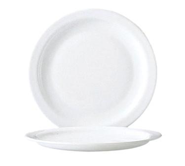 "Cardinal 57975 Arcoroc Restaurant White Narrow Rim Glass Round Plate 9-1/4"" Dia."