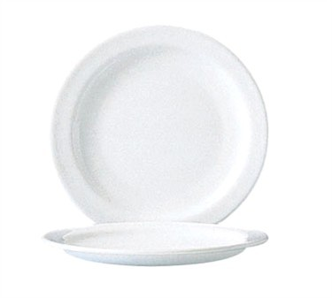 Fully Tempered Restaurant White Narrow Rim Glass Plate - 6