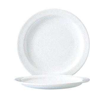 "Cardinal 58621 Arcoroc Restaurant White Narrow Rim Glass Plate 6"" Dia."