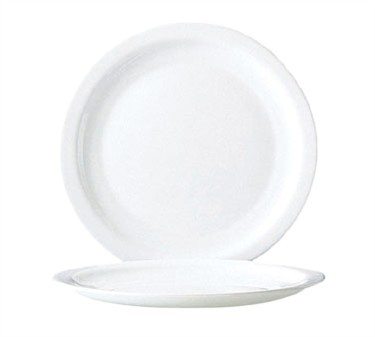 "Cardinal 59943 Arcoroc Restaurant White Narrow Rim Glass Plate 10-1/4"" Dia."