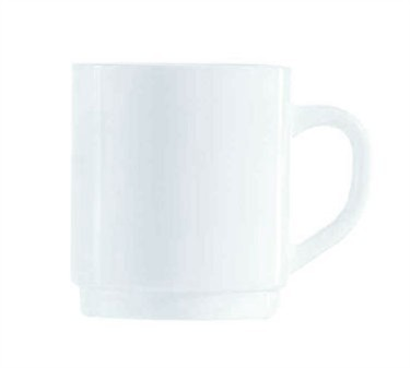 Fully Tempered Restaurant White 10 Oz. Glass Mug - 3-1/2