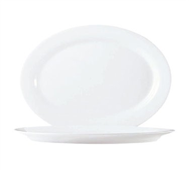 Fully Tempered Restaurant White Glass Oval Platter - 12-1/2