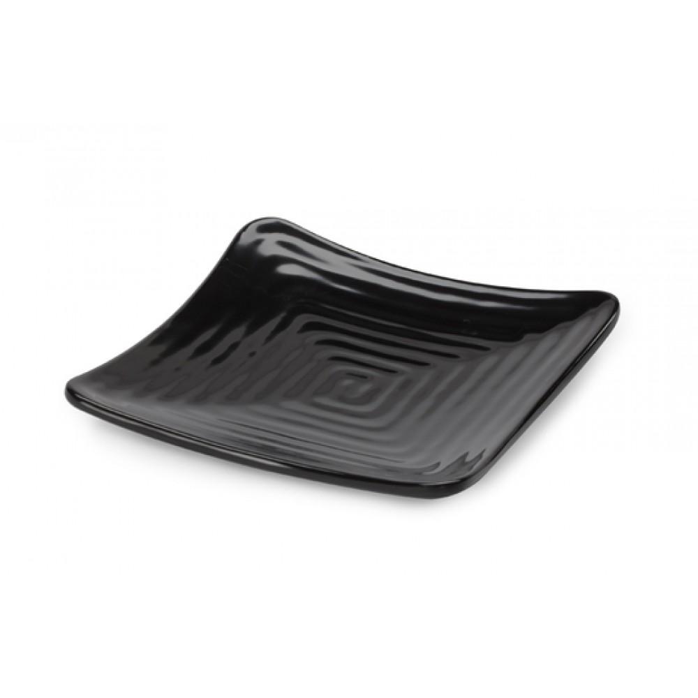"G.E.T. Enterprises ML-60-BK Milano Black Melamine Square Plate 6"""
