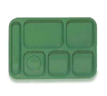 "G.E.T. Enterprises TL-152-FG ABS Forest Green 6-Compartment Food Tray 10"" x 14"""