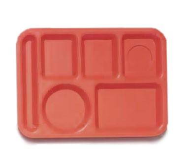 """G.E.T. Enterprises TL-152-RO ABS Rio Orange 6-Compartment Food Tray 10"""" x 14"""""""