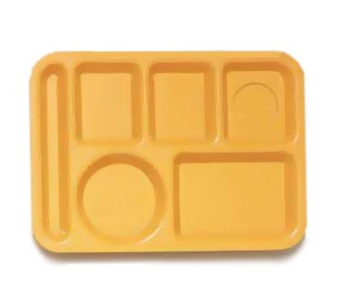 "G.E.T. Enterprises TL-152-TY ABS Tropical Yellow 6-Compartment Left Handed Tray 10"" x 14"""