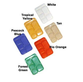 """G.E.T. Enterprises TR-152-TY ABS Tropical Yellow 6-Compartment Right Handed Tray 10"""" x 14"""""""