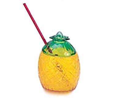 G.E.T. Enterprises SW-1410 Yellow SAN Plastic 20 oz. Pineapple Cup with Lid