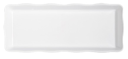 "G.E.T. Enterprises ML-154-W Bake and Brew Scalloped White Rectangular Tray 14"" x 5-1/2"""