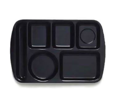 "G.E.T. Enterprises TL-151-BK Black 6-Compartment Left-Hand Melamine School Tray 14-3/4"" x 9-1/2"""