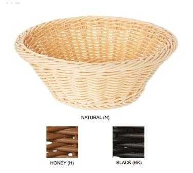 "G.E.T. Enterprises WB-1501-BK Black Designer Polyweave Round Basket 9-1/2"""