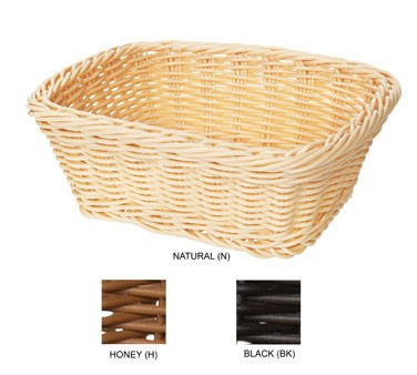"G.E.T. Enterprises WB-1506-BK Black Designer Polyweave Rectangular Basket 9-1/2"" x 7-3/4"""