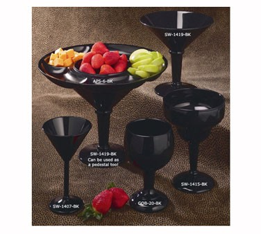 GET Black SAN Plastic 10 Oz. Martini Glass