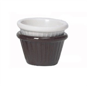 GET Bone White 2 Oz. Melamine Fluted Ramekin - 2-3/4