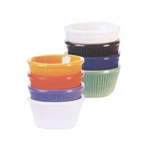 GET Bone White Melamine 4 Oz. Fluted Ramekin - 3-1/4