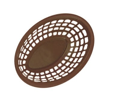 "G.E.T. Enterprises OB-734-BR Brown Bread and Bun Oval Basket 7-3/4"" x 5-1/2"""