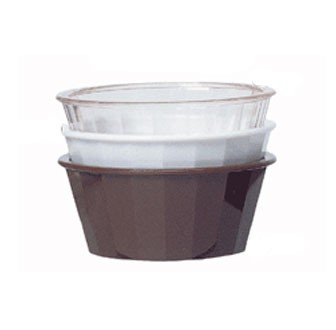 GET Brown SAN Plastic 4 Oz. Fluted Ramekin - 4-1/4
