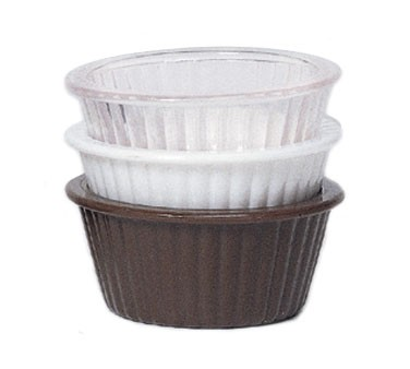 GET Brown SAN Plastic 4 Oz. Fluted Ramekin - 3-3/4