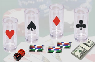 GET Clear SAN Plastic 3 Oz. Imprinted Casino Shooter Glasses