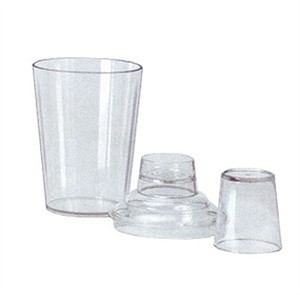 G.E.T. Enterprises SH-175-1-CL Clear SAN Plastic 3-Piece Cocktail Shaker Set