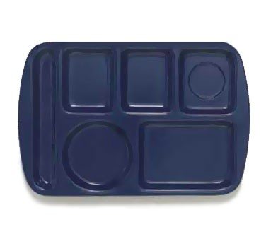 GET Dark Blue 6-Section Left-Hand Melamine Tray - 14.75
