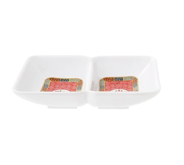 "G.E.T. Enterprises 037-L Dynasty Longevity 2-Compartment Sauce Dish, 4"" x 3"""