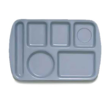 "G.E.T. Enterprises TL-151-FB French Blue 6-Compartment Left-Hand Melamine Tray 14-3/4"" x 9-1/2"""