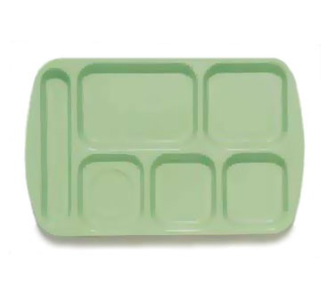 GET Green 6-Section Left-Hand Melamine School Tray - 14.75