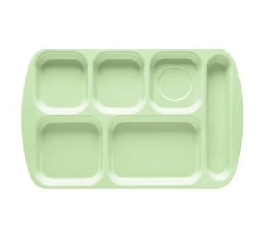 "G.E.T. Enterprises TR-151-G Green 6-Compartment Right-Hand Melamine School Tray 15-1/2"" x 10"""