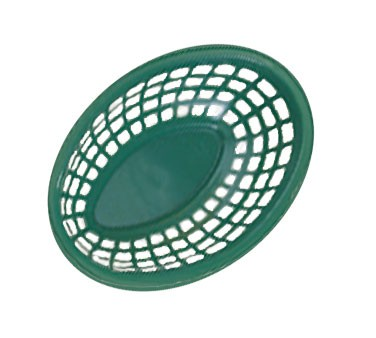 "G.E.T. Enterprises OB-734-G Green Bread and Bun Oval Basket 7-3/4"" x 5-1/2"""