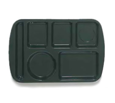 GET Hunter Green 6-Section Left-Hand School Tray - 14.75