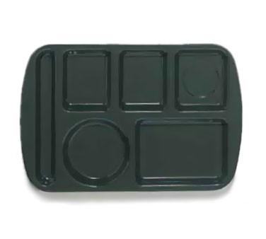 "G.E.T. Enterprises TL-151-HG Hunter Green 6-Compartment Left-Hand School Tray 14-3/4"" x 9-1/2"""