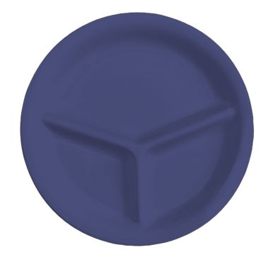 GET Mardi Gras Peacock Blue 3-Compartment Plate - 10-1/4
