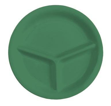 GET Mardi Gras Rainforest Green 3-Compartment Plate - 10-1/4