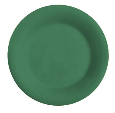 GET Mardi Gras Rainforest Green Melamine Wide Rim Plate - 7-1/2