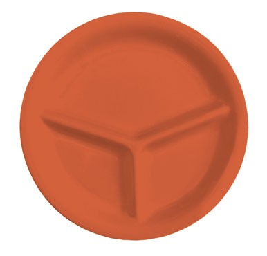 GET Mardi Gras Rio Orange 3-Compartment Plate - 10-1/4