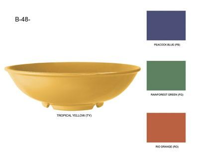 G.E.T. Enterprises B-48-RO Diamond Mardi Gras Rio Orange 48 oz. Melamine Pasta Bowl