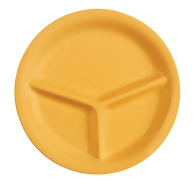 GET Mardi Gras Tropical Yellow 3-Compartment Plate - 10-1/4