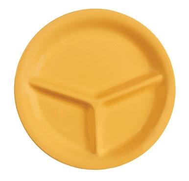 "G.E.T. Enterprises CP-10-TY Diamond Mardi Gras Tropical Yellow 3-Compartment Plate 10-1/4"""