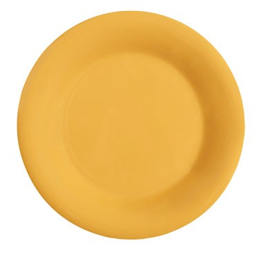 GET Mardi Gras Tropical Yellow Melamine Wide Rim Plate - 10-1/2