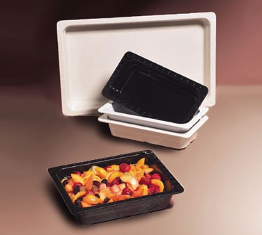 GET Melamine Black 1/3 Size Insert Food Pan - 2-1/2