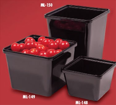 "G.E.T. Enterprises ML-148-BK Black Melamine 28 oz. Square Salad Crock 4-3/4"" x 4-3/4"""