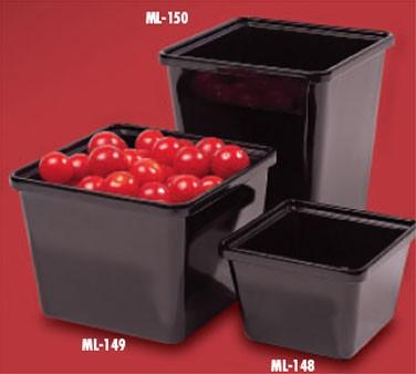 GET Melamine Black 3 Quart Square Salad Crock - 6-1/4