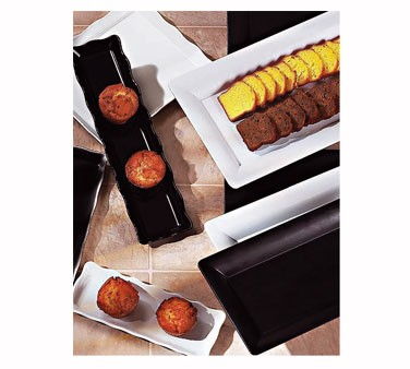 "G.E.T. Enterprises ML-128-BK Bake and Brew Black Melamine Scalloped Rectangular Tray 13-1/2"" x 5-1/4"""
