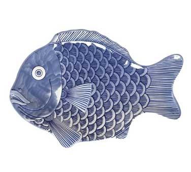 """G.E.T. Enterprises 370-10-BL Creative Table Blue Fish Platter, 10"""" x 7"""""""